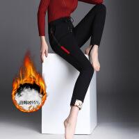 冬季女式羽绒裤子女外穿打底裤加绒加厚保暖小脚百搭裤女W628 黑色