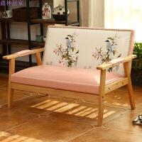 甜品奶茶店西餐咖啡厅洽谈桌椅组合简约休闲双人卡座办公室皮沙发 浅粉色花鸟 双人