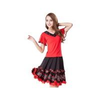 新款广场舞服装套装短袖蕾丝V领上衣裙子跳舞蹈表演出服