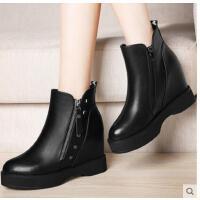 古奇天伦新款秋冬季平底短靴马丁靴靴子女坡跟短靴内增高女鞋