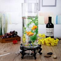 创意鱼缸玻璃圆形充氧水培家用小型桌面客厅金鱼缸生态水族箱
