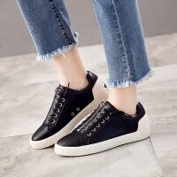 新款单鞋女皮鞋韩版百搭真皮女鞋休闲运动小白鞋平底学生靴子