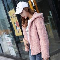 2018秋季新款短款连帽羊剪绒大衣女冬季新款韩版羊羔毛皮草羊毛外套