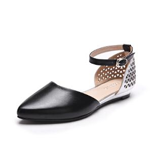 富贵鸟 春季新款单鞋 女羊皮拼色尖头单鞋女鞋 女侧空时尚镂空鞋