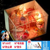 diy小屋创意手工制作小房子建筑模型拼装玩具生日礼物女送女友 +音乐