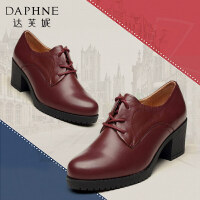 Daphne/达芙妮春夏款 粗跟圆头休闲系带英伦风深口女士单鞋