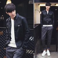韩版男士皮衣修身短款仿真皮夹克男青年机车男装外套潮