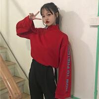 春装女装新款韩版原宿风高领字母宽松百搭套头卫衣学生长袖上衣潮