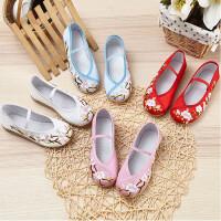 女童绣花鞋布鞋中国风民族风舞蹈鞋古风汉服古装配饰鞋子春季新款