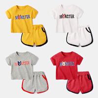 宝宝运动套装夏季短款休闲装女童上衣短裤婴儿两件套
