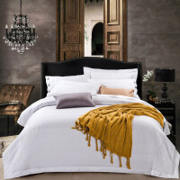 家纺新款酒店宾馆白色四件套 全棉提花被套床单纯棉加大双人床上用品