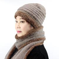 兔毛针织毛线帽中老年人帽子女冬季奶奶加绒保暖帽中年老人帽围巾