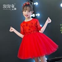 儿童婚纱蓬蓬裙女孩礼服红色短款公主裙花童晚礼服生日演出服夏季