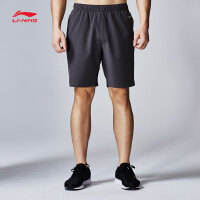 李宁运动短裤男士新款跑步系列速干反光凉爽夏季梭织运动裤AKSN123