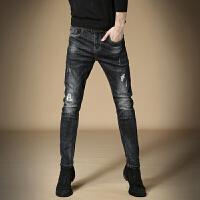 黑色牛仔裤男秋冬款修身小脚破洞牛仔裤男直筒男裤子韩版潮 黑色