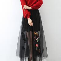 刺绣蕾丝网纱裙秋季2017新款女韩版时尚绣花透视高腰包臀半身长裙 黑色