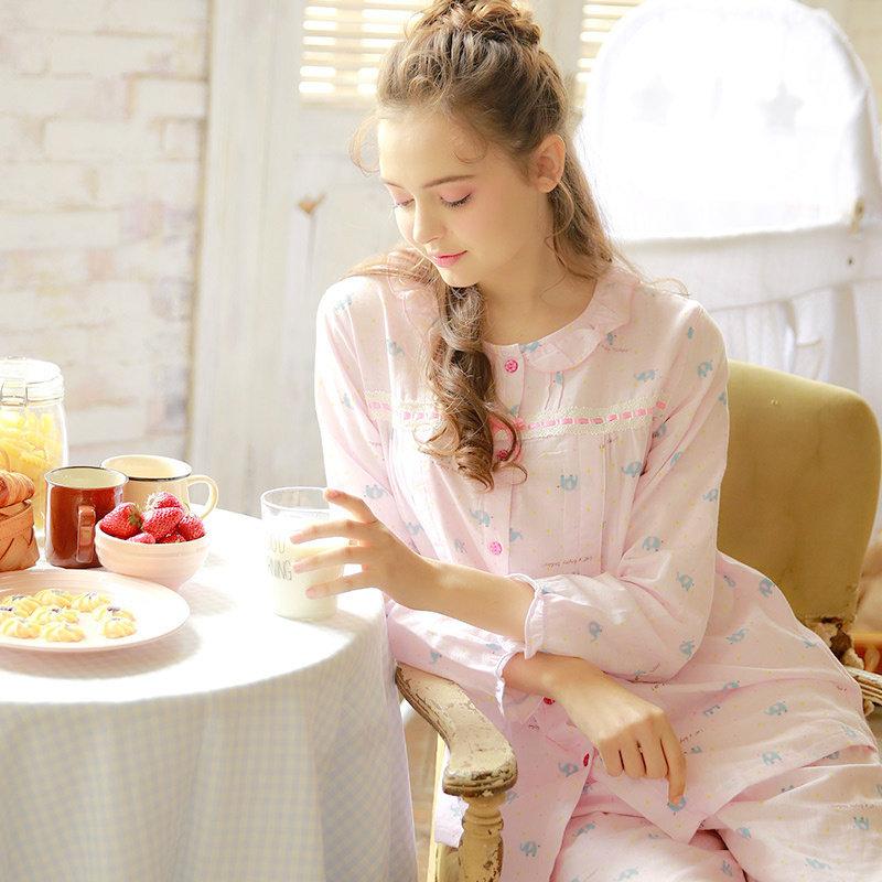 梦蜜 产后月子服喂奶睡衣 薄款春夏天纯棉纱布孕妇家居服 产妇哺乳服