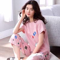 夏天睡衣女纯棉短袖家居服女夏季大码韩版长裤薄款两件套套装