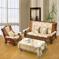 加厚沙发垫布艺冬三人座四季通用老式实木带靠背连体坐垫 乳白色 花花世界带裙边