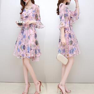 2018夏季新款女装韩版时尚修身V领荷叶袖印花雪纺显瘦连衣裙女夏