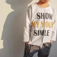 男童T恤长袖2018春秋新款韩版纯棉打底衫白色薄款潮小童春装