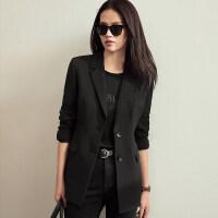 【到手价268元】Amii极简气质通勤休闲职业西装女2019秋新款修身显瘦收腰黑色外套