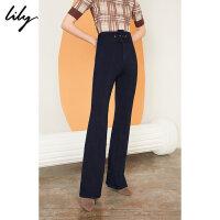 【2件4折到手价:239.6元】 Lily秋新款女装时髦高腰修身休闲微喇牛仔长裤119320G5231