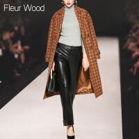 FLEUR WOOD2017秋冬新款女欧美气质宽松显瘦拼色毛呢外套大衣