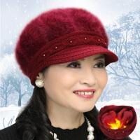 冬季兔毛帽女针织毛线老人帽中老年人冬天妈妈帽加绒加厚保暖女帽