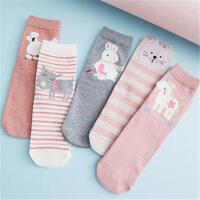 茉蒂菲莉 棉袜 女式秋冬加绒加厚休闲利发国际lifa88地板袜女士纯色保暖雪地袜学生一体中筒袜时尚袜子(3双装)