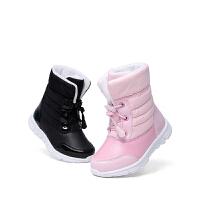 斯纳菲男女童靴子冬季2017新款童鞋保暖儿童雪地靴 加绒棉鞋短靴