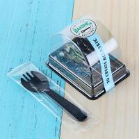 卷包装盒虎皮卷烘焙包装塑料透明半圆西点盒瑞士卷包装盒 盒子+bk蓝色贴纸+叉子 100套