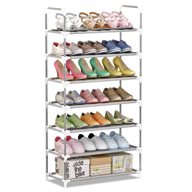 蜗家七层无布套实用 层架 储物架 防锈钢管收纳架 架子 鞋架 xj-A077层可收纳21双无布套鞋架