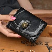 1短款钱包女牛皮小钱包复古油腊皮三折女士钱包黑色竖款钱夹皮夹潮