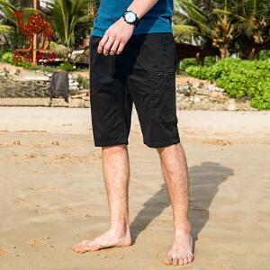 骆驼男装 2018年夏季新款青年纯色直筒休闲六分裤 中腰宽松工装裤
