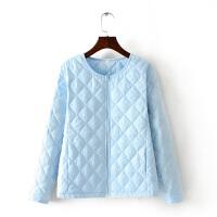 冬季轻薄羽绒棉衣女短款圆领百搭保暖内胆200斤无领小棉袄外套