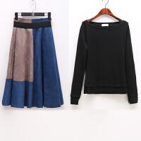 20秋冬新款女装时尚套装裙高腰显瘦中长款两件套韩版长袖连衣裙 图片色