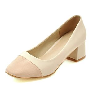 ELEISE美国艾蕾莎新品038-3038韩版中跟粗跟拼色女士单鞋