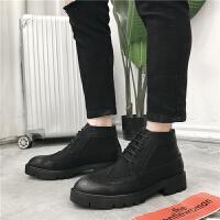 布洛克雕花男鞋高帮英伦复古男靴子马丁靴男百搭韩版休闲皮靴潮鞋 黑色 系带款