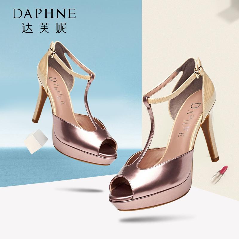Daphne/达芙妮 夏款 时尚防水台丁字带包跟鱼嘴凉鞋1015303017