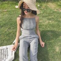 韩观2017夏装新款chic风双肩带复古经典格子交叉绑带修身显瘦连体裤女SN484 图色