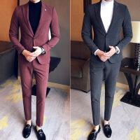 2017春款韩国英伦修身小西装外套男士马甲时尚休闲青年两件套西服