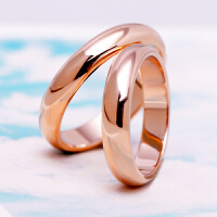 18K玫瑰金情侣戒指光圈女 男士钛钢戒指素圈光面彩金结婚戒指订婚