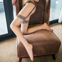 2018新款性感豹纹吊袜带长筒丝袜子诱惑女士蕾丝花边油亮丝袜 肤色油亮均码(不含T裤) 均码
