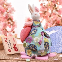 音乐盒八音盒和风兔送女生生日日式创意结婚礼物 抖音 湖蓝色(纹金布 曲 谢谢) 配礼盒贺卡手拎袋