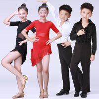 夏季拉丁舞裙儿童演出服比赛新款女孩流苏款服装男女童练功表演服
