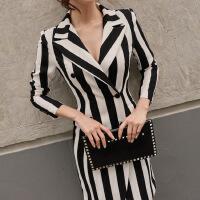 秋装新款韩版OL气质西装修身条纹双排扣中长款时尚外套 女秋 条纹色(送腰带)