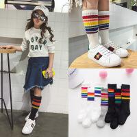 新款全棉创意彩虹条纹中筒袜校服裙袜
