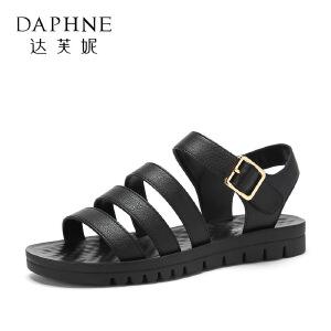Daphne/达芙妮2018夏季新款魔术贴平底低跟纯色休闲舒适凉鞋