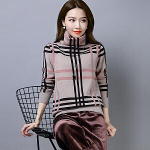 2018冬季新品新款套头毛衣毛女堆堆领大码民族风针织衫格子打底衫
